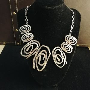 Silver toned Spiral Statement Necklace